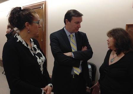 Irene Jadge and Janice Stauffer with Sen. Murphy